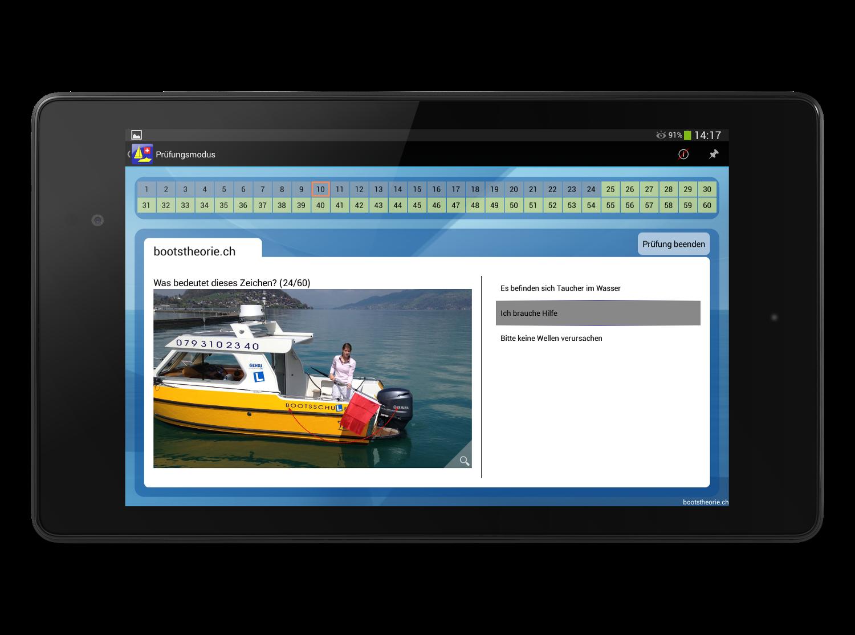 Alle aktuellen Prüfungsfragen für den Bootsführerschein Binnen in der Schweiz lernen Sie bequem und Mobil mit dem Smartphone und Tablet. Sie werden die Bootsprüfung garantiert bestehen! Gratis Testversion der App Bootstheorie.ch