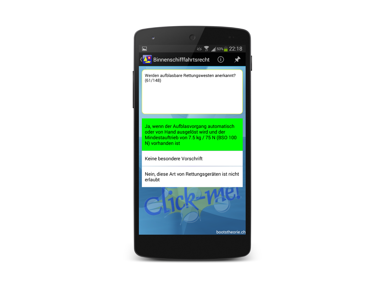 Alle aktuellen Theoriefragen für die Schiffstheorieprüfung bequem lernen mit der App Bootstheorie.ch. Gratis Testversion im Google Play Store!