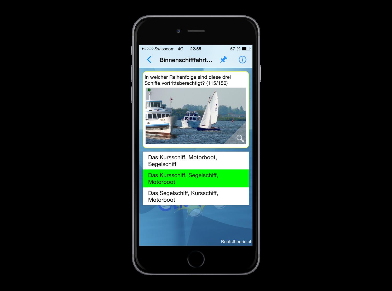 Die App Bootstheorie.ch für die schnelle Prüfungsvorbereitung auf die Schiffstheorieprüfung Motorboot und Segelschiff mit dem iPhone