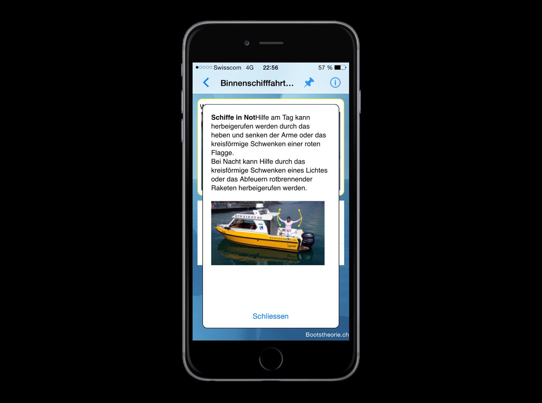 Alle Erklärungen zu den aktuellen Prüfungsfragen für die Bootsprüfung auf Ihrem iPhone mit der App Bootstheorie.ch