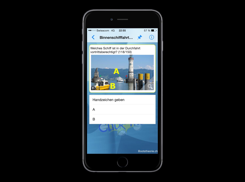 Alle aktuellen Prüfungsfragen für die Schiffsprüfung Motorboot und Segelschiff  lernen Sie mit Ihrem iPhone mit der App Bootstheorie.ch
