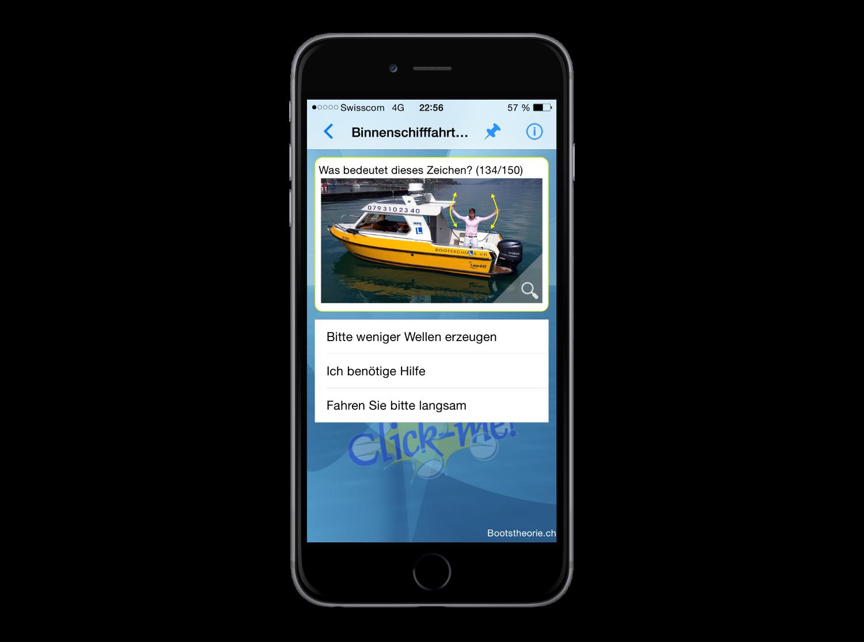 Alle Theoriefragen und Erklärungen rund um die Schiffsprüfung und Bootsprüfung Motorboot und Segelschiff finden Sie in der App Bootstheorie.ch