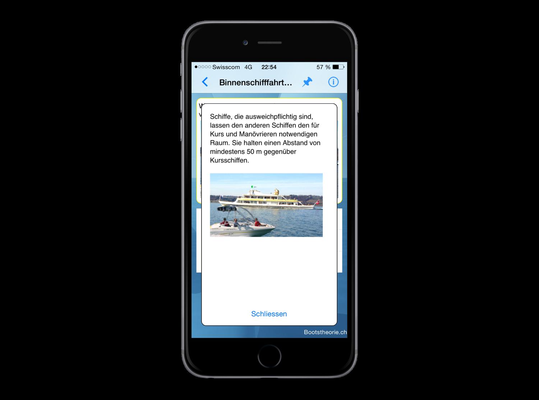 Alle Theoriefragen und Erkärungen zur Schiffstheorieprüfung Schweiz lernen Sie schnell und kostengünstig mit der App Bootstheorie.ch auf Ihrem iPhone oder iPad