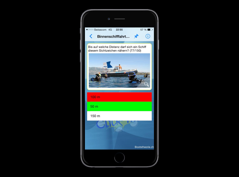 Alle Theoriefragen und Erklärungen für den Schiffsführerschein Motorboot und Segelschiff in der Schweiz finden Sie in der App Bootstheorie.ch. Die schnellste Lernmethode für die Bootsprüfung und den Binnenschein.