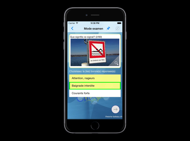 Examen Bateau Suisse avec toutes les nouvelles questions d'examen 2017/18 pour le permis de bateau.